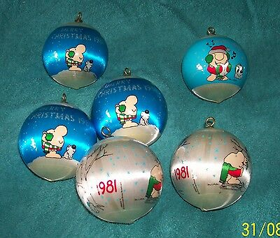 """Lot of 6-Vintage """"1981"""" Ziggy & Fuzz Satin Ball  Ornaments-Animation Characters"""