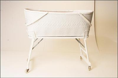 Vintage WHITE WICKER CRIB mid century baby bassinet doll cradle nursery rolling