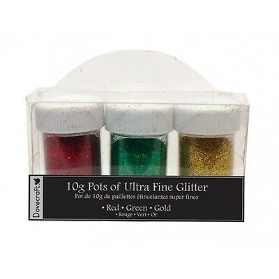 Dovecraft Ultra Fine Glitter 3 pots 10g - Red Green Gold