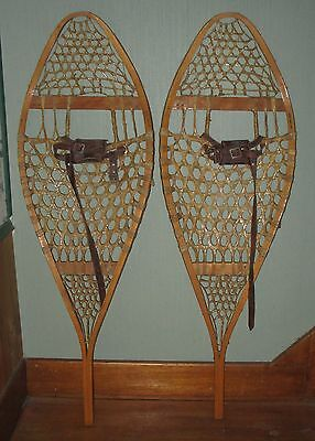VINTAGE Pair Snow shoes 42 x 14 inches Indian Hand Made Raw Hide Snowshoes