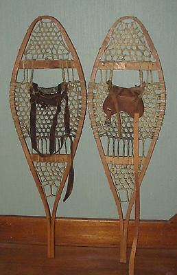 VINTAGE Pair Snowshoes 36 x 11 inches Indian Made Raw Hide Snow Shoes