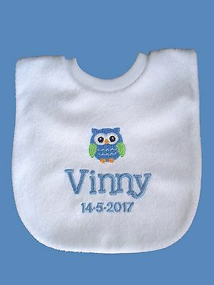 Personalised Baby Bib Embroidered GIFT New Twins/ Christening/Name Day OWL