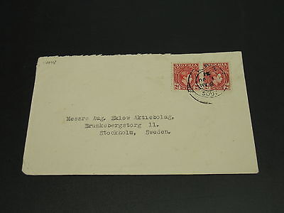 Nigeria 1931 cover to sweden tear top *14978