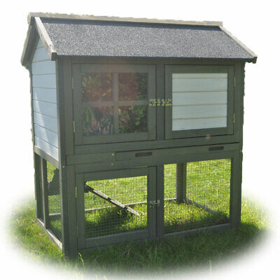Rabbit Hutch Guinea Pig Cage Backyard House with Patio Timber Flooring Small
