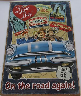 """I Love Lucy Metal Sign- On The Road Again -8.5"""" X 11""""  Lucy Ricky Fred Ethel car"""