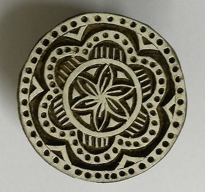Round Shaped 5cm Indian Hand Carved Wooden Printing Block Stamp (RD15)