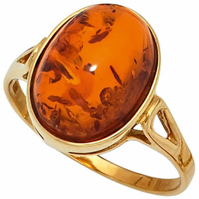 Damen Ring 375 Gold Gelbgold 1 Bernstein orange Bernsteinring Goldring NEU