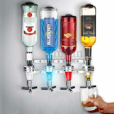 4 Bottle Bar Beverage Liquor Dispenser Alcohol Drink Shot Cabinet Wall Mounted