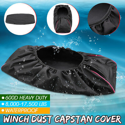 Black 600D Soft Waterproof Winch Dust Cover Driver Recovery 8,000 -17,500 lbs