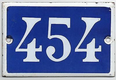 Old blue French house number 454 door gate plate plaque enamel metal sign steel