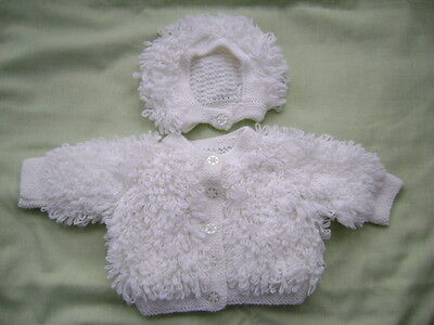 New Hand Knitted White Loopy Jacket  and Hat Set 6/12 months