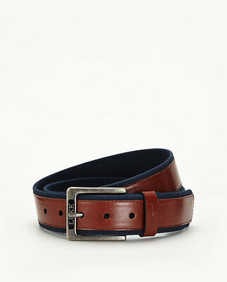 Luke Leather and Canvas Belt In Chocolate Size S