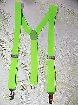 Vintage lime green elasticated braces