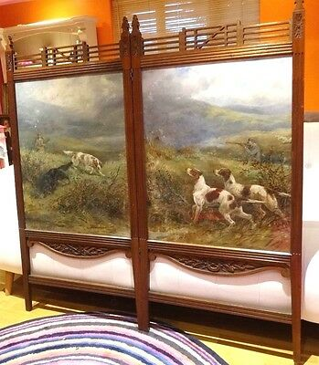 Large 19th Century Hounds Setters Hunting Dogs Landscape Oil Painting DAVIS