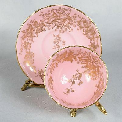 Coalport Teacup & Saucer - White/pink Decorated With Gold Gilded Floral Design