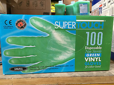 1000 Supertouch Small Green Vinyl disposable gloves Powdered