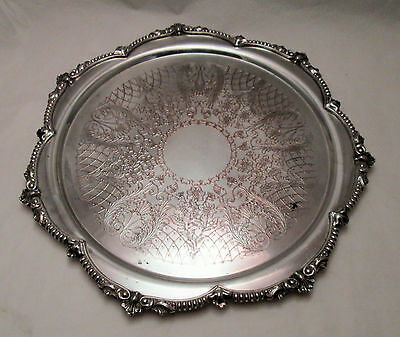 A Large Silver Plated Round Tray - Engraved