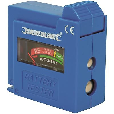 Silverline Compact Battery Tester 1.5/9V, AAA, AA, D, C Charge Level Display