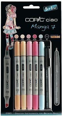 Copic Ciao Pens - 5 + 1 Manga Set 7 - Graphic Art Markers Pens + Fineliner