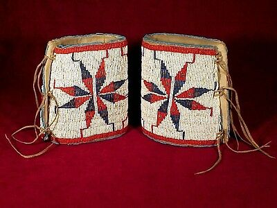 Nice Pair of SIOUX INDIAN BEADED CUFFS
