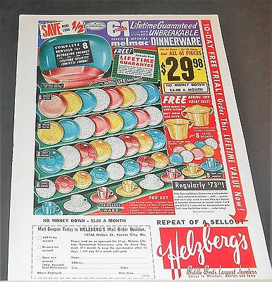 1959 Helzberg's Jewelers Ad Imperial Melmac dinnerware deco colors/confetti