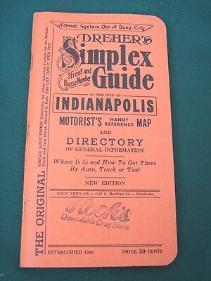 Indianapolis Indiana 1955 Dreher's Simplex Street Guide & City Map