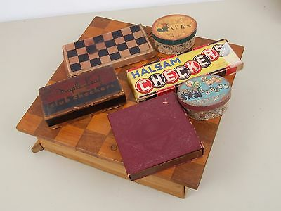 Checkerboard Set and Variety of Vintage Checkers and Games