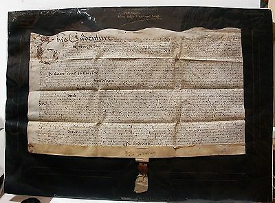English Indenture for land on vellum with wax pendant seal 1649