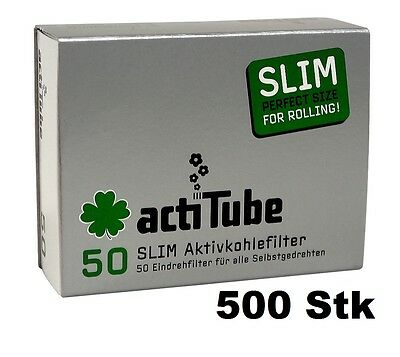 actiTube AKTIVKOHLEFILTER SLIM,10x50er Packung (= 500 stk), smart smoking