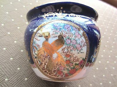 Limoges Cobalt Blue, White & Gold bowl/vase, raised gold design with bird pics