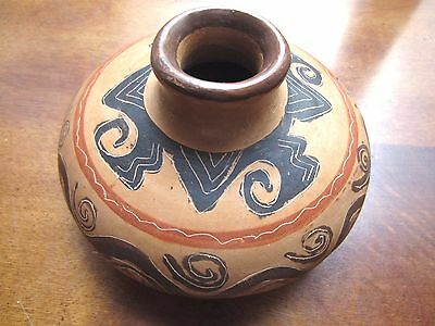 Pottery/Ceramic Folkart Squat Vase,signed, made in Quanacaste, Costa Rica ,