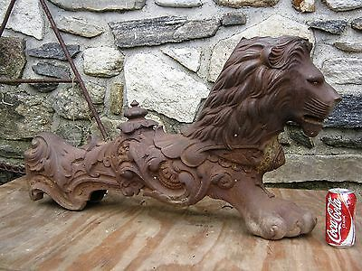 Antique Architectural Victorian Cast Iron Garden Foo Dog Sculpture Lion Statue