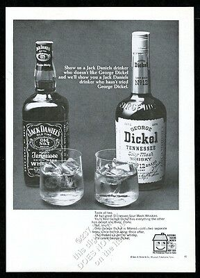 1969 George Dickel vs Jack Daniel's whiskey rocks glass photo vintage print ad
