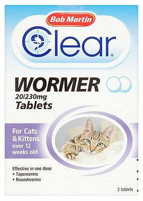 Bob Martin 2 In 1 Dewormer Wormer for Cats 2 Tablets FREEPOST