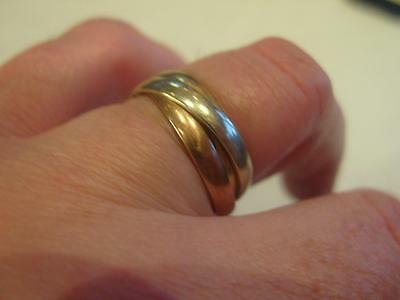 Hallmarked 9ct Yellow White & Rose Gold Russian Wedding Ring 6mm Wide - 4.4g