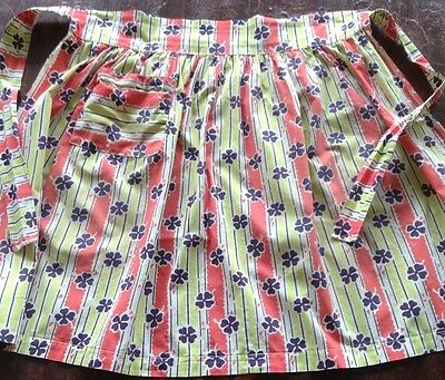 Vintage 1940s hostess half apron, four leaf clovers, lime green, coral