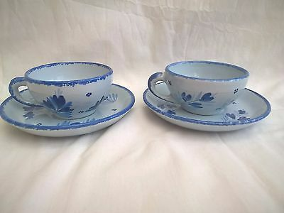 Henriot Quimper - Blue Cockerel - Set of 2 Cups & Saucers - French Pottery
