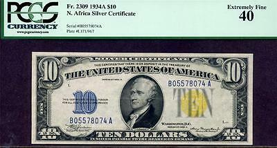 FR 2309 $10 N Africa Silver Certificate XF40 Bold Print and Nice Color!!!!