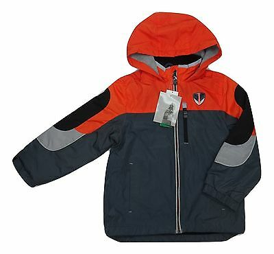 Boy's London Fog Fleece Lined Hooded Jacket Orange/Gray Choose Size