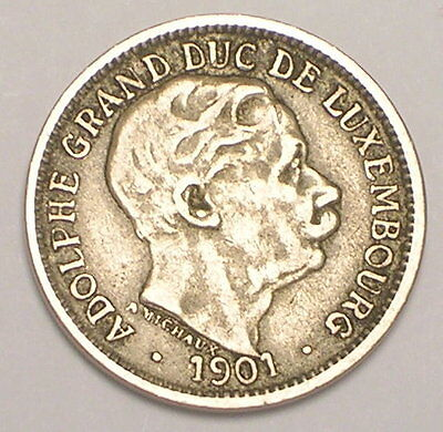 1901 Luxembourg 10 Centimes Grand Duke Adolphe Coin F+