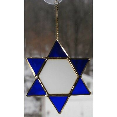 Stained Glass Star of David Gold Plated Free Shipping!