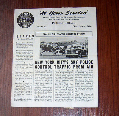 1940 DeSoto Plymouth Car Advertising Mailed Newletter from Pischke Garage WI