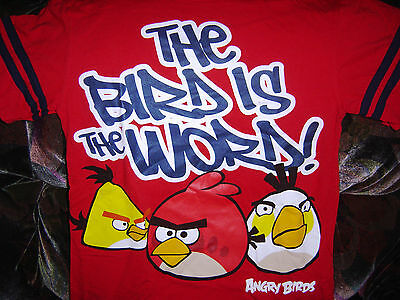 ANGRY BIRDS COTTON T-SHIRT SHIRT Vtg Youth Boys Girls Kids Size LARGE 14-16