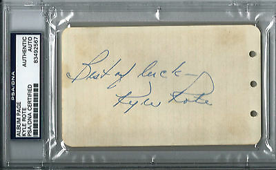 KYLE ROTE GIANTS 1951 OVER ALL #1 DRAFT PICK SIGNED 3x5 ALBUM PAGE PSA/DNA SLAB