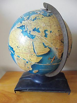 Vintage 1940s Wonder World simplified 10 inch globe,Replogle Globes,Inc. Chicago