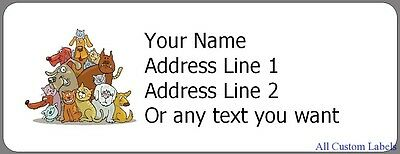 Cats and Dogs - 30 Personalized Return Address Labels