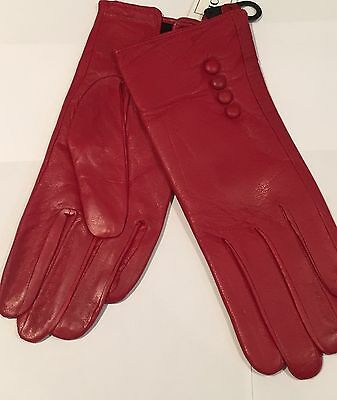 Woman's Gloves Cotton RED Winter Driving Walking GENUINE LEATHER Medium