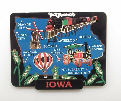Iowa State Brass Magnet Cities Landmarks Travel Souvenir Gift