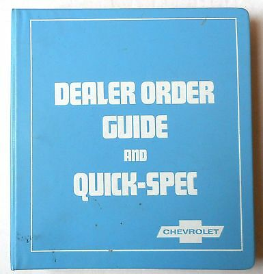 1982 Chevrolet Car And Truck Dealer Ordering Guide And Quick Spec Album Book All