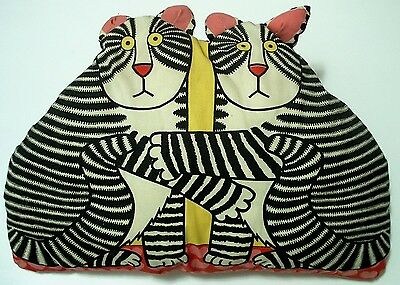 """Vintage 19"""" Valentine Hearts Cats Love Throw Pillow Double Sided Kliban Looking"""